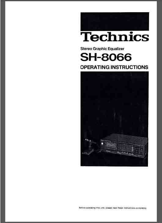 Technics SH-8066 Eqalizer Operating Manual pdf [SH-8066